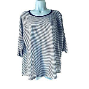 🇸🇪H&M t-shirt white and navy stripes size L